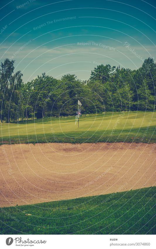 Spielwiese Golfplatz Lifestyle Freizeit & Hobby Spielen Minigolf Sport Ballsport Erfolg Verlierer Natur Landschaft Sand Sommer Wiese Fahne grün Business
