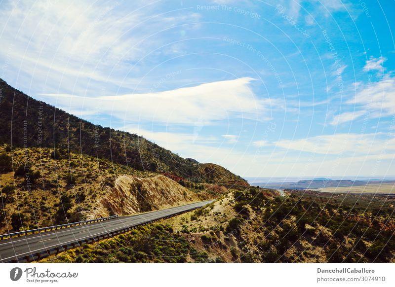 on the road again I Road to... Himmel Ferien & Urlaub & Reisen Sommer Landschaft Wolken Ferne Berge u. Gebirge Straße Wege & Pfade Wiese Tourismus Freiheit