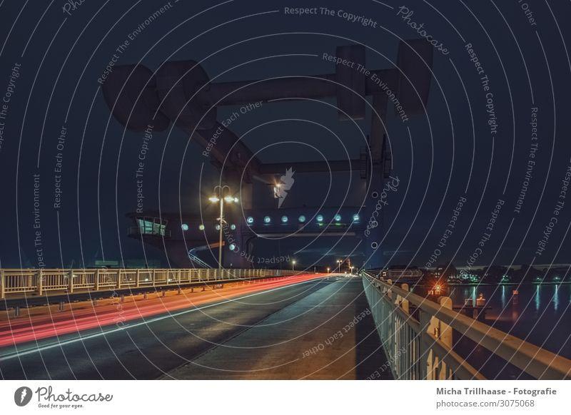 Peenebrücke Wolgast bei Nacht Ferien & Urlaub & Reisen Tourismus Technik & Technologie Menschenleer Hafen Brücke Bauwerk Architektur Zugbrücke Verkehr