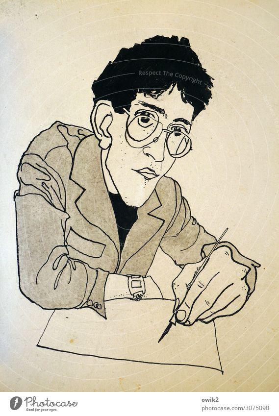 Selfie Junger Mann Jugendliche Erwachsene 1 Mensch Künstler Selbstportrait Zeichnung Tinte Karton vergilbt sitzen gewissenhaft Vorsicht geduldig