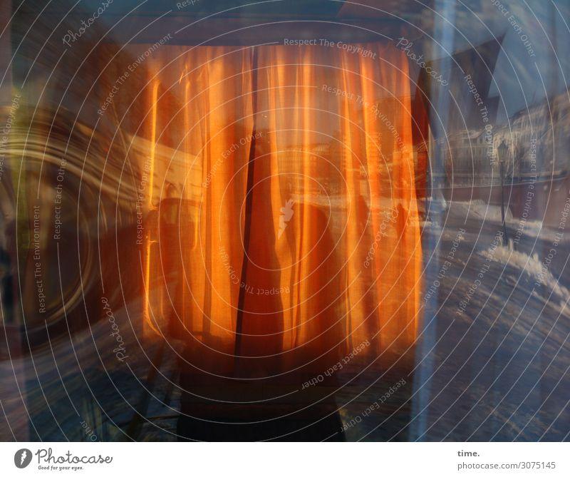 orange high | nebulös Stadt Haus Winter dunkel Straße Leben Wege & Pfade Schnee Bewegung außergewöhnlich träumen verrückt Perspektive Vergänglichkeit