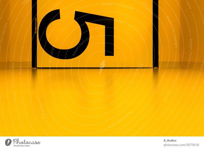 schwarze 5 Kunst Menschenleer Mauer Wand Zeichen Schriftzeichen Ziffern & Zahlen Schilder & Markierungen Hinweisschild Warnschild außergewöhnlich gelb Stimmung