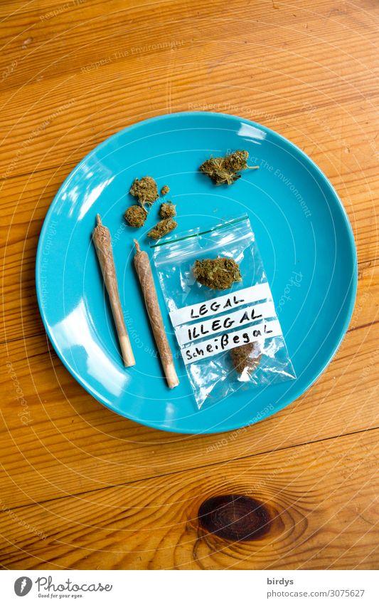 Kiffers best Teller Lifestyle Alternativmedizin Rauchen Rauschmittel Erholung Joint Cannabis Holz ästhetisch authentisch Freundlichkeit rebellisch blau gelb