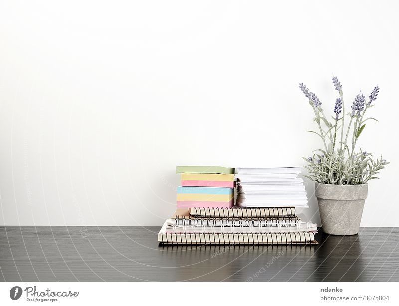 ein Stapel von Spiralheften und farbigen Aufklebern. Topf Lifestyle Tisch Schule Arbeit & Erwerbstätigkeit Arbeitsplatz Büro Business Blume Papier Holz
