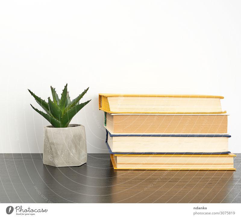 Bücher auf einen schwarzen Tisch und einen Keramiktopf stapeln. Topf lesen Wissenschaften Schule lernen Klassenraum Studium Arbeitsplatz Business Buch