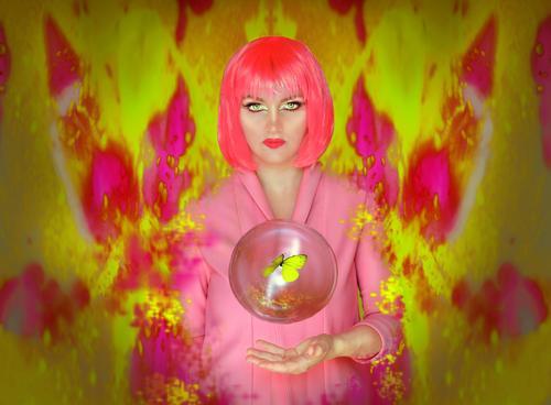 Hol deinen Schmetterling aus dem Bauch! pink gelb Perücke Blase Zukunft Gegenwart rosa auferstehen Flügel Farbe mehrfarbig Sommer isoliert Depression