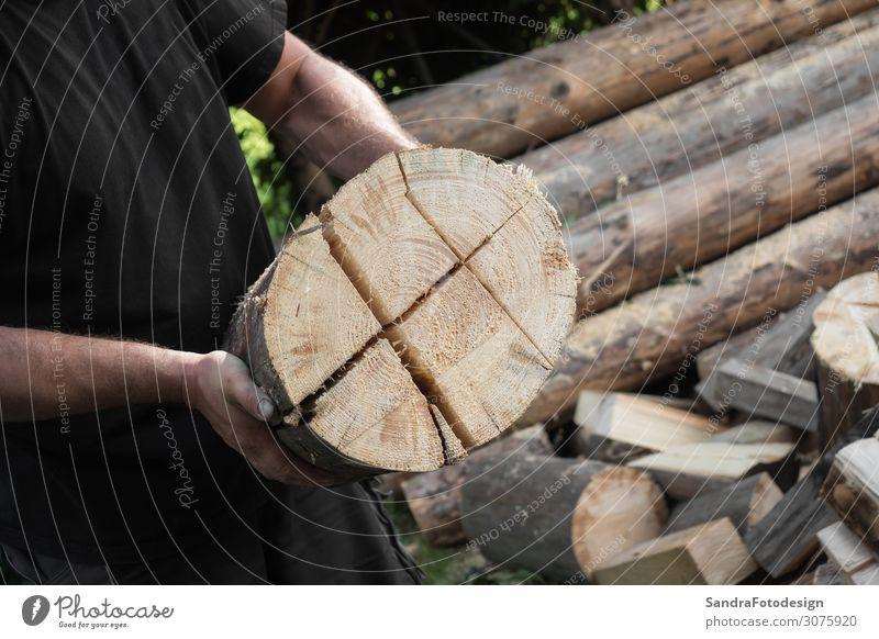 Firewood split with wooden splitter 1 Mensch Natur Baum Holz Arbeit & Erwerbstätigkeit stark Kraft Splitter splitting machine steel timber work bark lumber tree