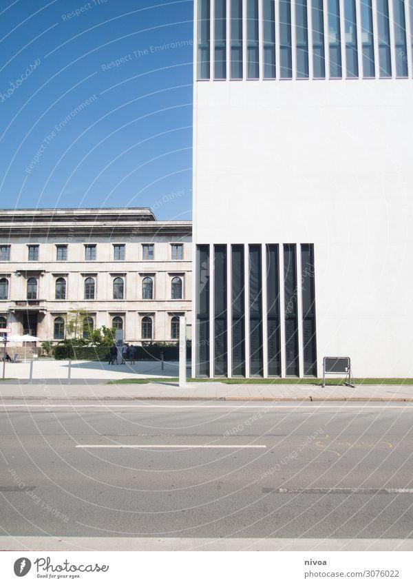 Museum München NS Architektur Fenster Gebäude modern Glas Außenaufnahme Moderne Architektur Fassade Himmel Perspektive Fensterfront hoch Straße Deutschland Haus