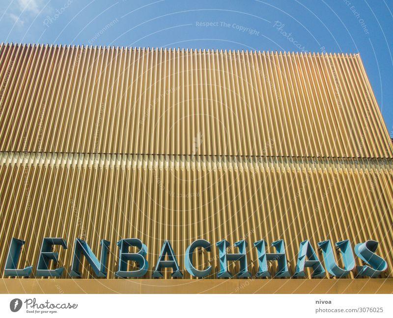 Lenbachhaus München Stadt Haus Architektur gelb Wand Gebäude Kunst Mauer Design Freizeit & Hobby Schilder & Markierungen Sehenswürdigkeit Dach Bauwerk Bildung