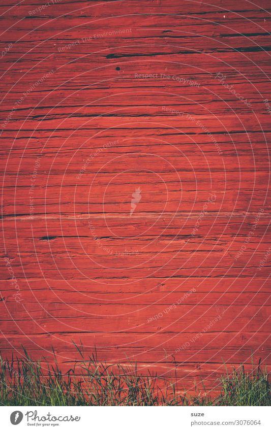 Rote Wand Wärme Gras Mauer Fassade Holz Linie Streifen alt authentisch einfach natürlich trist trocken rot Schutz Farbe Schweden Farbstoff Anstrich Zaun