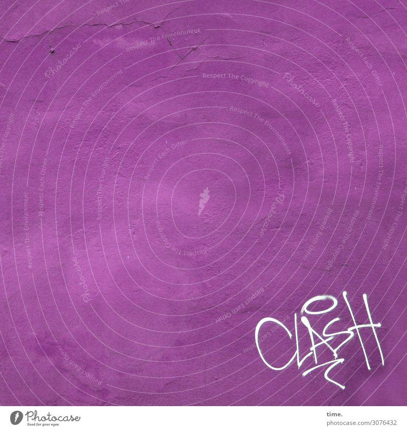 Randbemerkung | Geschriebenes Mauer Wand Fassade Putz Putzfassade Stein Beton Schriftzeichen Schilder & Markierungen Graffiti rosa Leben Hochmut Wut Ärger