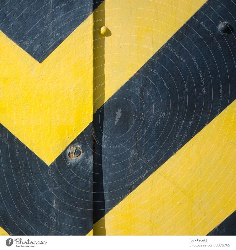 S/G Grafik u. Illustration Metall Streifen Warnfarbe authentisch einfach retro gelb schwarz Sicherheit Design Stil Symmetrie Lack diagonal Niete Ecke Geometrie