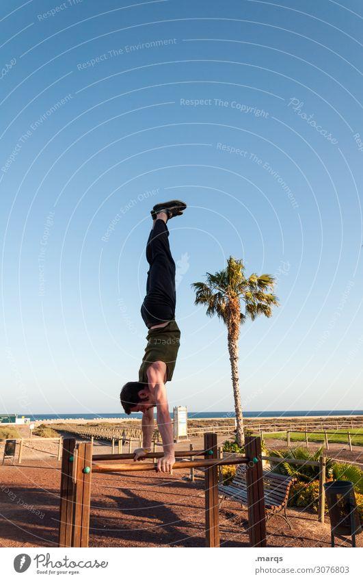 Handstand am Strand Akrobatik Turnen Sport Kraft sportlich Fitness Coolness akrobatisch Sportler Gleichgewicht Bewegung Turner Wolkenloser Himmel Palme Barren