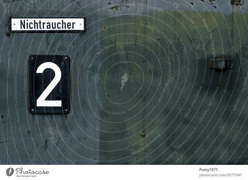 Nichtraucher Schienenverkehr Eisenbahn Personenzug Metall Ziffern & Zahlen Schilder & Markierungen 2 Nichtraucherzeichen alt historisch grün schwarz weiß
