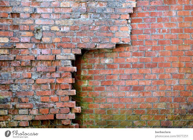 Nicht einstürzende Altbauten Industrieanlage Fabrik Gebäude Mauer Wand Fassade Stein Backstein Linie alt rot Schutz Verfall Vergänglichkeit Zusammenhalt