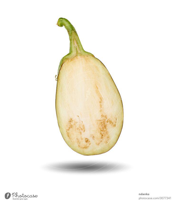 halb reife violette Aubergine, isoliert auf weißem Hintergrund Gemüse Frucht Ernährung Vegetarische Ernährung Natur Pflanze Essen frisch natürlich schwarz