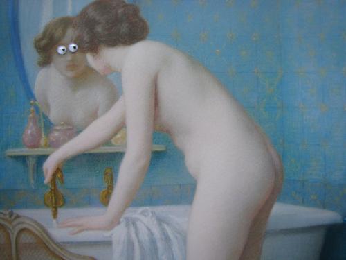 Blick in den Spiegel Häusliches Leben Badewanne Mensch feminin Frau Erwachsene 1 18-30 Jahre Jugendliche Handtuch Schwimmen & Baden beobachten nackt blau weiß
