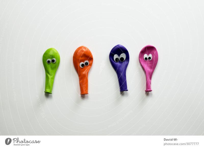 Firlefanz | nehmt es nicht persönlich Freude Kindererziehung Kindergarten Mensch Leben Kunst beobachten lustig Luftballon Auge kulleräugig Schielen verrückt