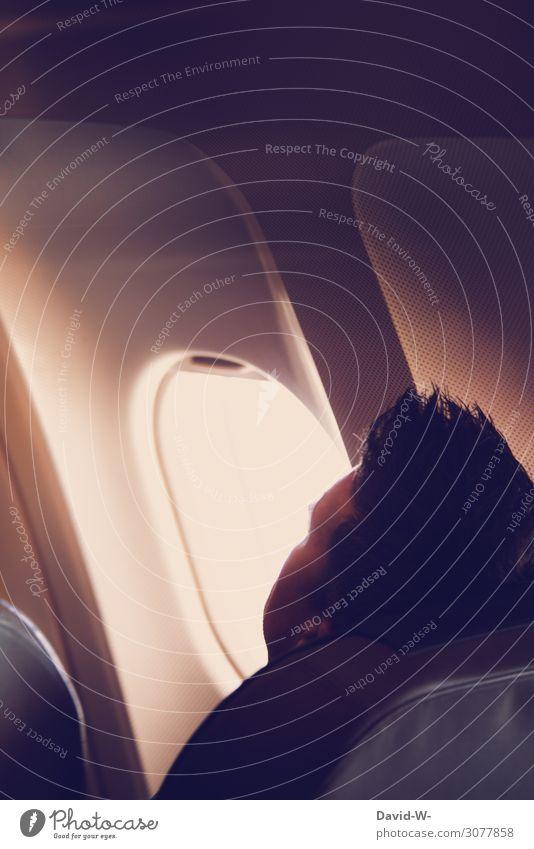 ab in den Urlaub Mensch Ferien & Urlaub & Reisen Mann Erholung ruhig Ferne Erwachsene Leben Glück Flugzeugfenster Stil Tourismus Freiheit Kopf Ausflug Design