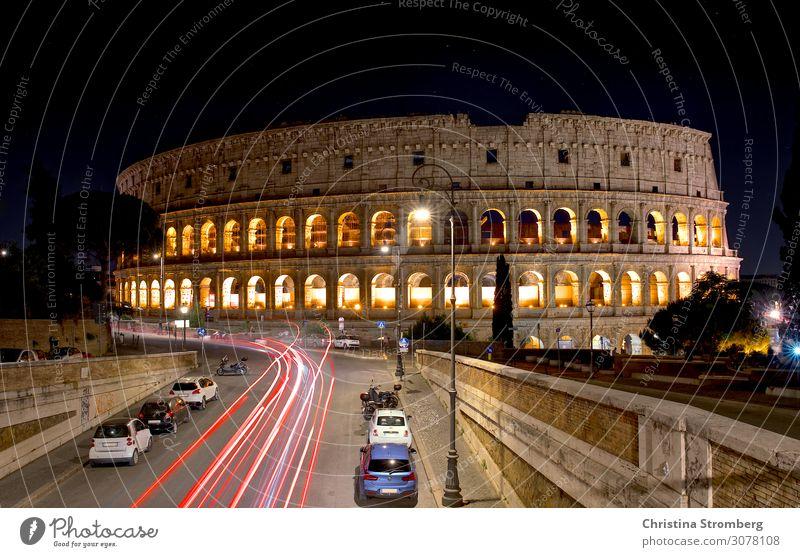 Kolosseum bei Nacht Architektur Kultur Rom Italien Europa Stadt Hauptstadt Bauwerk Arena Fassade Sehenswürdigkeit Wahrzeichen alt historisch Tourismus