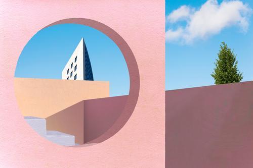 Mediterrane Architektur Ferien & Urlaub & Reisen Haus Wand Gebäude Mauer Fassade Treppe modern Bauwerk mediterran Terrasse Farbenspiel Durchblick Kubismus