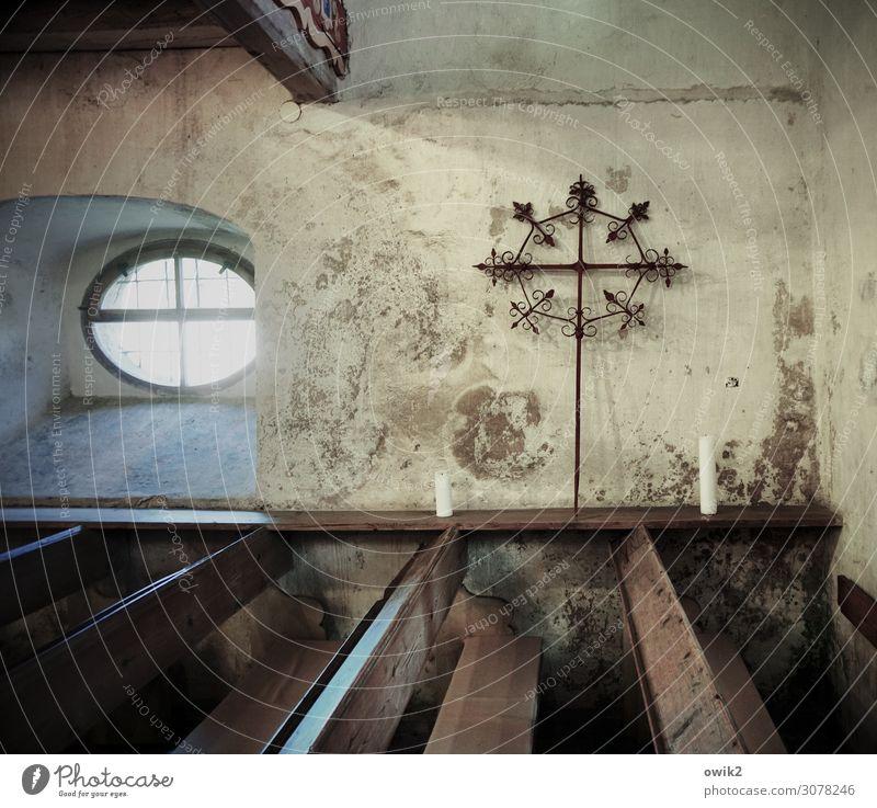 Fensterkreuz alt Wand Deutschland Mauer historisch Kerze Sehenswürdigkeit Bauwerk Christliches Kreuz Sachsen rau Kruzifix Protestantismus Gotteshäuser