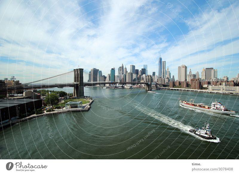 weitsichtig | relativ Himmel Wolken Schönes Wetter Küste New York City Manhattan Brooklyn Bridge Stadtzentrum Skyline Haus Hochhaus Bankgebäude Brücke