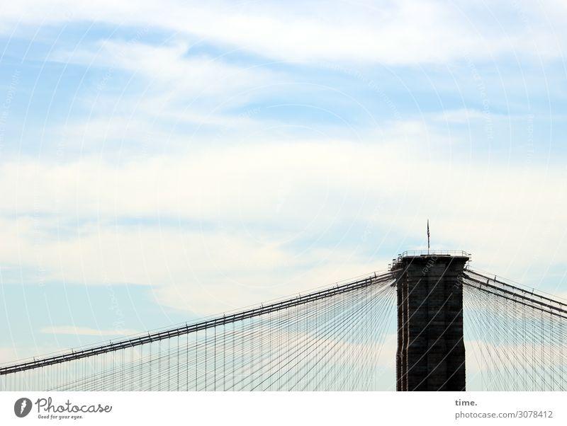 Seilschaften (VII) Himmel Wolken Schönes Wetter New York City Brooklyn Bridge Stadtzentrum Brücke Turm Bauwerk Gebäude Architektur Sehenswürdigkeit Wahrzeichen