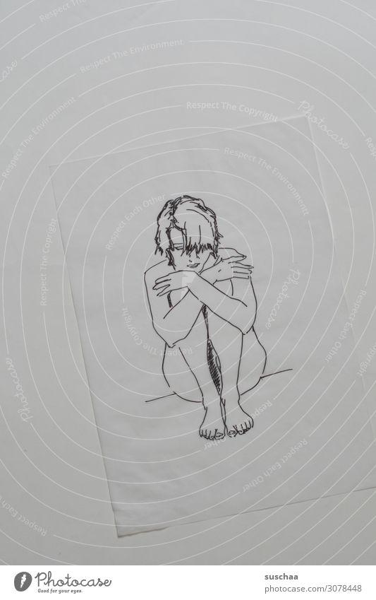 nur abgepaust (2) Zeichnung gezeichnet zeichnen malen abgezeichnet Kunst Künstler durchscheinend transparent Frau sitzen Papier Strichzeichnung Porträt Medien
