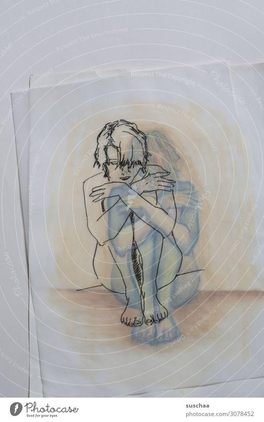 nur abgepaust Zeichnung gezeichnet zeichnen malen abgezeichnet Kunst Künstler durchscheinend durchsichtig Frau sitzen Papier übereinanderliegend farbig