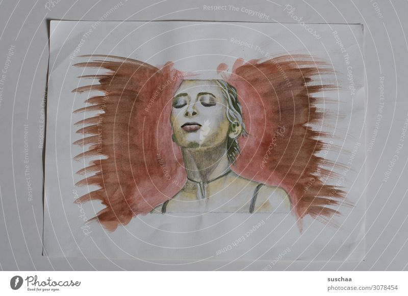 malen Zeichnung gezeichnet zeichnen abgezeichnet Kunst Künstler Frau Papier mehrfarbig Farbe Porträt Medien Entwurf Zeichenschule Kunstunterricht unvollendet