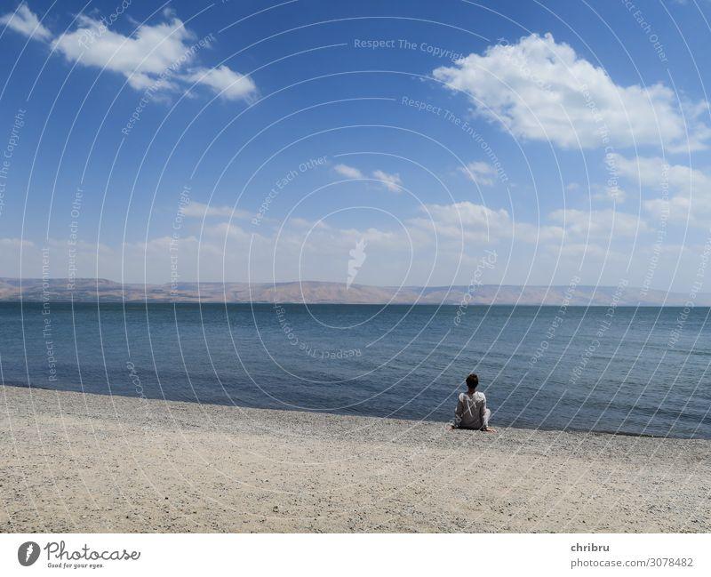 An seinem See Zufriedenheit ruhig Meditation Ferien & Urlaub & Reisen Freiheit Sommer Sommerurlaub Meer Mensch feminin 1 Natur Landschaft Wasser Himmel Horizont