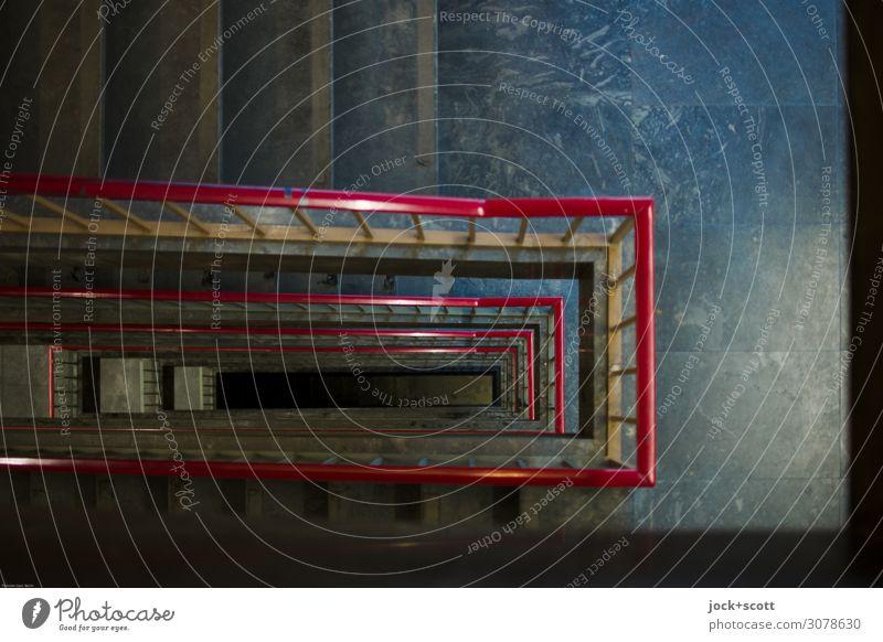 Aufstieg Architektur Berlin-Tempelhof Treppenhaus Boden Treppengeländer Linie Marmor Oberfläche eckig oben retro unten viele Stimmung Einigkeit komplex Ordnung