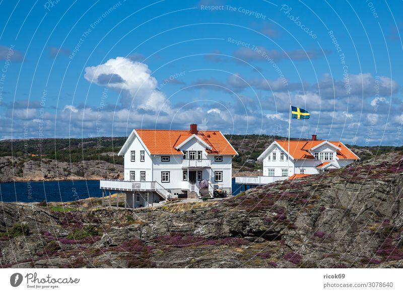 Blick auf die Insel Dyrön in Schweden Erholung Ferien & Urlaub & Reisen Tourismus Sommer Meer Haus Natur Landschaft Wasser Wolken Felsen Küste Nordsee Dorf