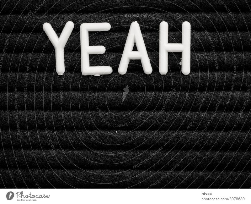 YEAH weisser Schriftzug auf Schwarz Lifestyle Design Freizeit & Hobby Ferien & Urlaub & Reisen Häusliches Leben Wohnung Innenarchitektur Dekoration & Verzierung