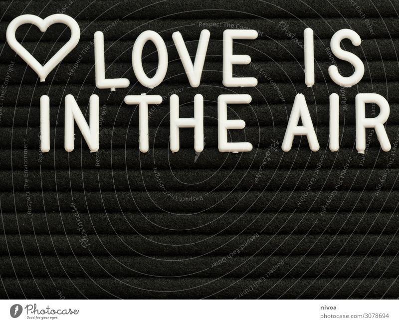 Love is in the air Schriftzug weiß Erotik schwarz Leben Liebe Gefühle Glück Paar Zusammensein Stimmung Schriftzeichen Sex Lebensfreude Romantik Unendlichkeit