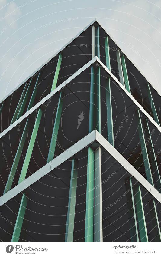 Konstruktion No.1 Baustelle Himmel Gießen Deutschland Europa Stadt Bauwerk Gebäude Architektur Fassade eckig blau grün schwarz Stahlkonstruktion Gedeckte Farben