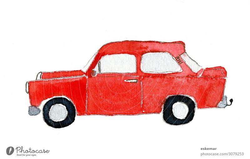 Auto in Aquarell Kunst Kunstwerk Gemälde gemalt Wasserfarbe auf Papier Verkehr Verkehrsmittel Personenverkehr Straßenverkehr Autofahren Fahrzeug PKW Oldtimer