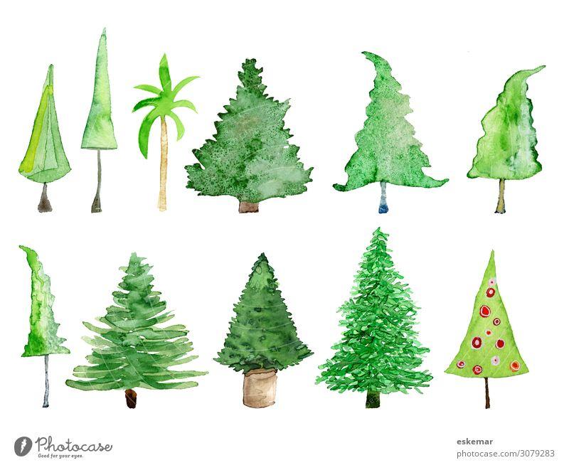 Bäume und Weihnachtsbäume, Aquarell auf Papier Weihnachten & Advent Weihnachtsbaum Christbaum Kunst Gemälde Wasserfarbe Zeichnung gezeichnet Malerei gemalt