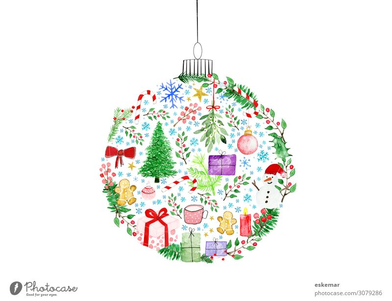 Weihnachten Aquarell Zuckerstange Weihnachtsbebäck Winter Schnee Dekoration & Verzierung Weihnachten & Advent Weihnachtsbaum Christbaumkugel Weihnachtskugel