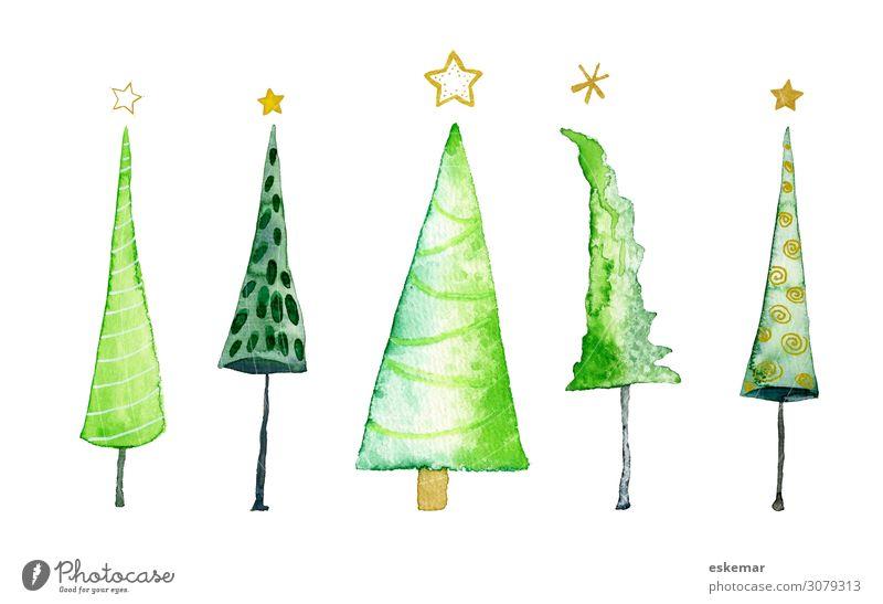 Weihnachtsbäume, Aquarell auf Papier Weihnachten & Advent Weihnachtsbaum Kunst Kunstwerk Gemälde Wasserfarbe gemalt Baum Stern (Symbol) ästhetisch schön viele