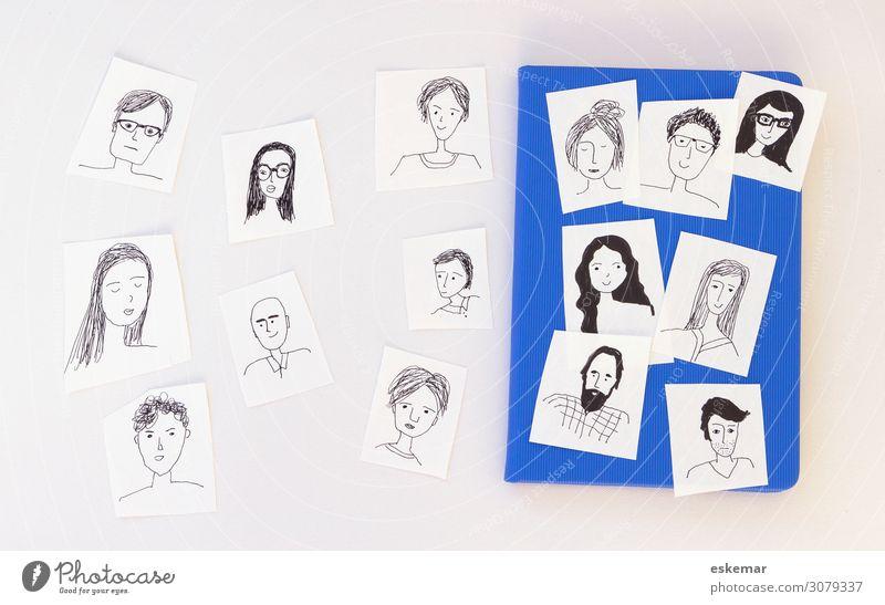 face-book Mensch maskulin feminin Junge Frau Jugendliche Junger Mann Erwachsene Freundschaft Menschengruppe Zeichnung Doodle gezeichnet Portrat Avatar Medien