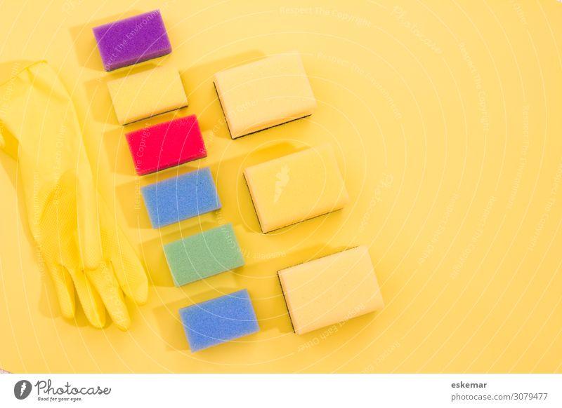 putzen Handschuhe Schwamm Putzschwamm Dinge Putzsachen Zubehör Reinigen Häusliches Leben ästhetisch Sauberkeit mehrfarbig gelb Farbe Ordnung rein Frühjahrsputz