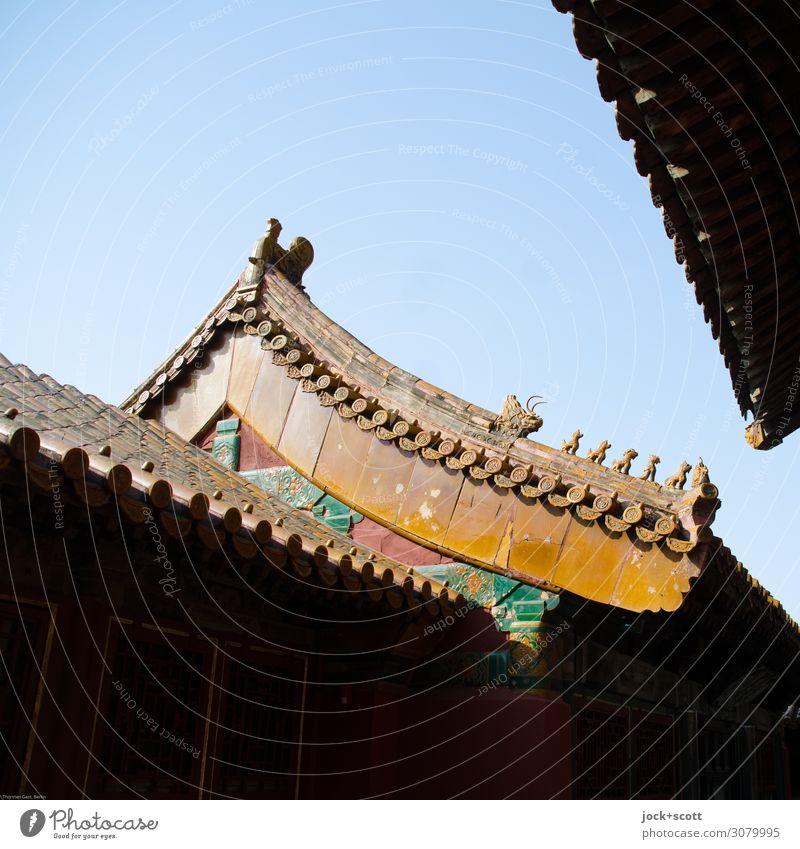 Drachen und Löwen Ferne Kunstwerk Architektur Weltkulturerbe Kunsthandwerk Chinesische Architektur Wolkenloser Himmel Palast Pagodendach Sehenswürdigkeit