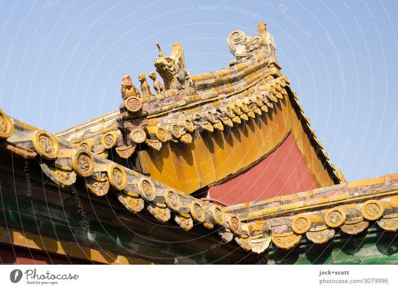 Löwen und Drachen Ferne Kunstwerk Architektur Weltkulturerbe Chinesische Architektur Kunsthandwerk Wolkenloser Himmel Palast Pagodendach Sehenswürdigkeit
