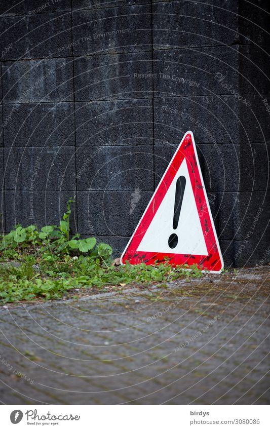 Achtung Grünpflanze Mauer Wand Einfahrt Verkehrszeichen Verkehrsschild Zeichen Schriftzeichen Hinweisschild Warnschild authentisch außergewöhnlich bedrohlich