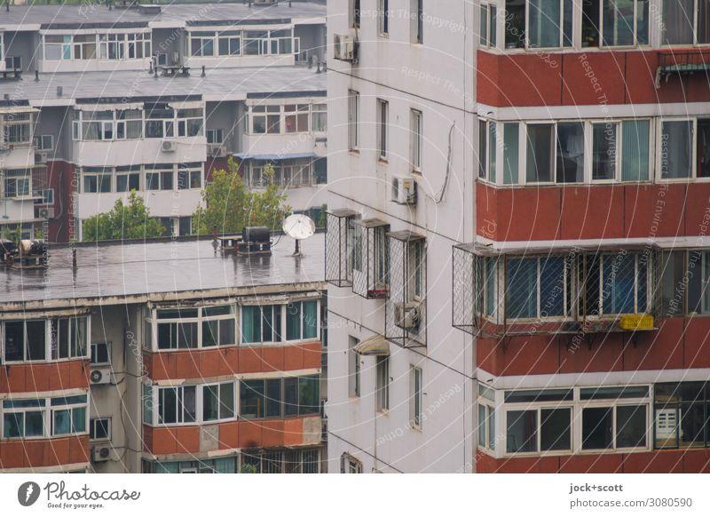 Viertel in Peking Städtereise schlechtes Wetter Stadtzentrum Stadthaus Plattenbau Wohnhochhaus Fassade Fenster Beton authentisch eckig groß hässlich oben retro