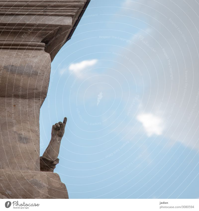 fingerzeig. Abenteuer Arme Hand Finger Kunst Skulptur Luft Himmel Wolken Bauwerk Architektur Mauer Wand Stein Zeichen Linie blau Wachsamkeit Hoffnung
