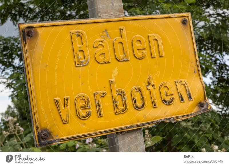 Baden verboten Ferien & Urlaub & Reisen Natur Sommer Landschaft Baum Erholung Strand Gesundheit Lifestyle Umwelt Sport Schwimmen & Baden Design Freizeit & Hobby