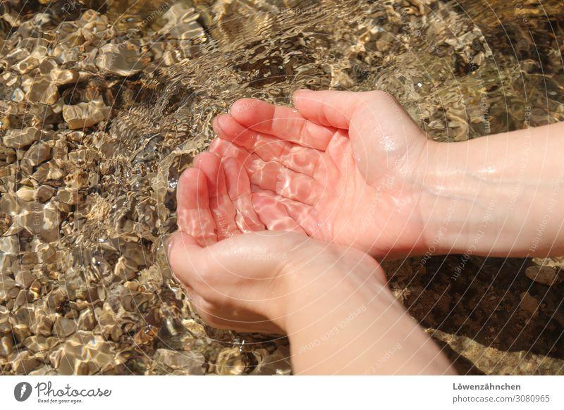 Lebenselixier Natur Wasser Hand Erholung kalt natürlich braun rosa frisch Haut Lebensfreude nass beobachten Reinigen trinken